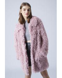 TOPSHOP - Womens De Fur Faux Fur Coat by Unreal Fur - Pink - Lyst