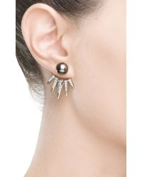 Nikos Koulis - Metallic Detachable Black Pearl and White Diamonds Spectrum Collection Spike Earrings - Lyst