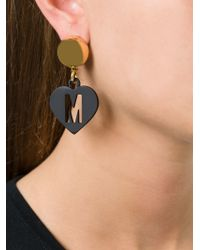 Moschino - Black M Cut Out Heart Clip-on Earrings - Lyst