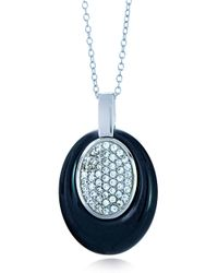 Lord & Taylor | Metallic Ceramic Gem Faux Diamond And Ceramic Oval Pendant Necklace | Lyst