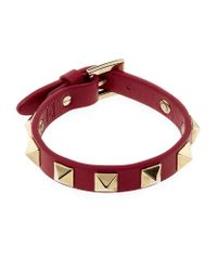 Valentino - Red Slim Rockstud Bracelet - Lyst