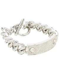 Michael Kors | Metallic Pave Plaque Toggle Bracelet | Lyst