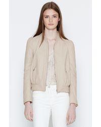 Joie - White Oshie Leather Bomber Jacket - Lyst