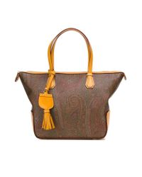 Etro - Brown Paisley Pattern Tote Bag - Lyst