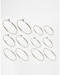 ASOS | Metallic 12 Pack Fine Rings With Ball Detail | Lyst