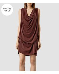AllSaints | Purple Amei Sleeveless Dress | Lyst