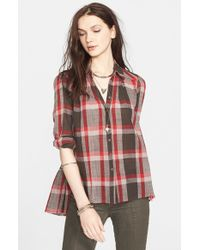 Free People Gray 'Peppy In Plaid' Button Front Shirt