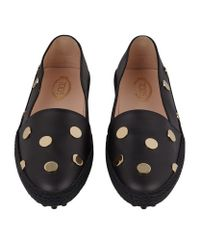 Tod's - Black Polka Dot Gommino Leather Driving Shoe - Lyst