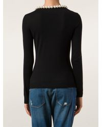 Boutique Moschino Black Pearl Collar Knit Top