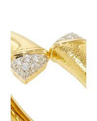 David Webb - Metallic Diamond Crossover Nail Bangle - Lyst