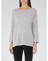 Reiss Gray Polly Lightweight Knit Top