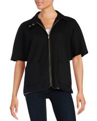 Calvin Klein | Black Leatherette Trim Wool Zip-up | Lyst