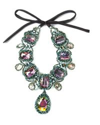 Night Market | Green Crystal Ribbon Necklace | Lyst