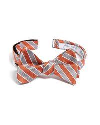 John W. Nordstrom Orange Stripe Silk Bow Tie for men