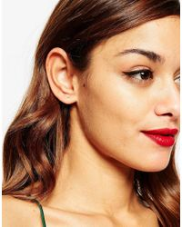 ASOS | Metallic Gold Plated Sterling Silver Mismatch Stone And Cuff Earrings | Lyst
