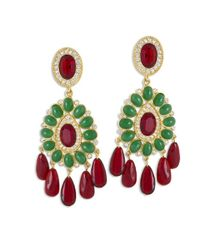 Kenneth Jay Lane | Green Ruby And Emerald Drop Clip Earring | Lyst