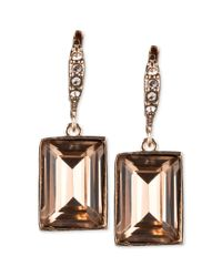 Givenchy | Pink Crystal Small Square Drop Earrings | Lyst
