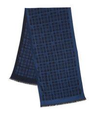 Z Zegna - Blue Wool/Silk Pentagon Print Scarf for Men - Lyst