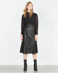 Zara | Black Shirt With Back Tie | Lyst