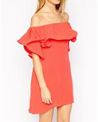 ASOS - Orange Sundress With Off Shoulder Frill Detail - Lyst