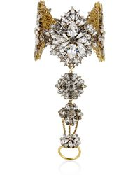 Erickson Beamon   Metallic Hung Up Gold-Plated Swarovski Crystal Finger Bracelet   Lyst