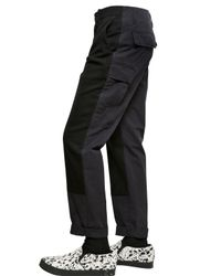 Miharayasuhiro Black Wool Flannel And Canvas Trousers for men