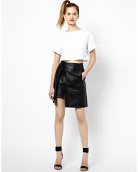 French Connection Black Nevada Leather Skirt with Split Detail