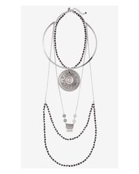 Express - Metallic Layered Filigree Medallion Necklace - Lyst