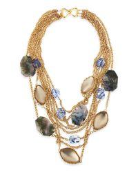 Alexis Bittar Metallic Golden Multichain Multistone Bib Necklace