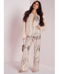 a201c5db95b Lyst - Missguided Sequin Halterneck Jumpsuit Silver in Metallic