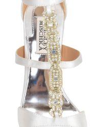 Badgley Mischka | White Pilar T-strap Evening Shoe | Lyst