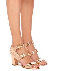 Laurence Dacade Pink Klea Metallic Calf Leather Heeled Sandals