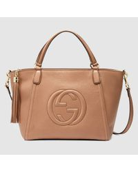 d36083cf87139 Lyst - Gucci Soho Leather Top Handle Bag in Natural