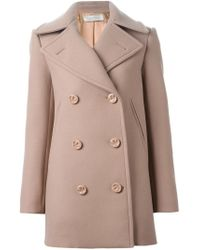 Nina Ricci - Natural Double Breasted Short Coat - Lyst