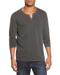 Lucky Brand Gray Long Sleeve Notch Neck T-shirt for men
