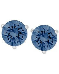 Swarovski | Silver-tone Blue Solitaire Stud Earrings | Lyst