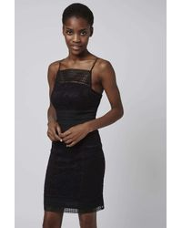 TOPSHOP - Black Tall Floral Lace Bodycon Dress - Lyst