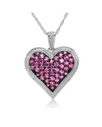 Amanda Rose Collection - Red 1ct Tw Created Pink Sapphire Heart Pendant-necklace In Sterling Silver - Lyst