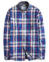 Joules Blue Lambert Chambray Collar Check Shirt for men