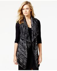 Kensie | Black Space-dye Asymmetrical Sweater Vest | Lyst