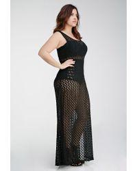 Forever 21 - Black Crochet High-slit Maxi Dress - Lyst