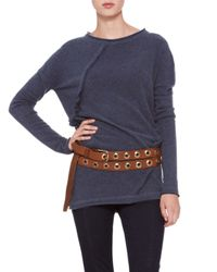 Donna Karan - Brown Double-wrap Grommet Belt - Lyst