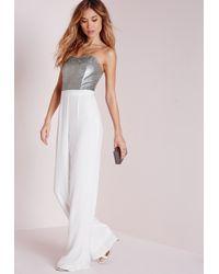 Missguided Metallic Sequin Embellished Bandeau Jumpsuit Silver