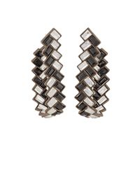 Nak Armstrong | Black Herringbone Hoop Earrings | Lyst
