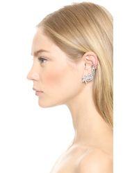 Ben-Amun Metallic Cascading Crystal Earrings - Silver/Clear