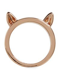 Marc By Marc Jacobs Pink Rose Gold Tone Cat Ears Ring
