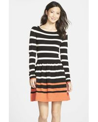 fedc7721b2b Eliza J Striped Fit-and-Flare Sweater Dress in Orange - Lyst