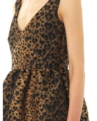 RED Valentino Brown Leopard-jacquard Fit and Flare Dress