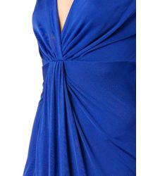 Diane von Furstenberg Blue Gathered-Front V-Neck Dress
