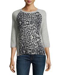 Neiman Marcus - Gray Cashmere Leopard Print Sweatshirt - Lyst